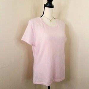 Cashmere pink short sleeve sweater t shirt top M L